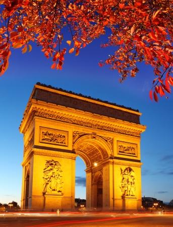 charles de gaulle: Famous Arc de Triomphe in autumn, Paris, France