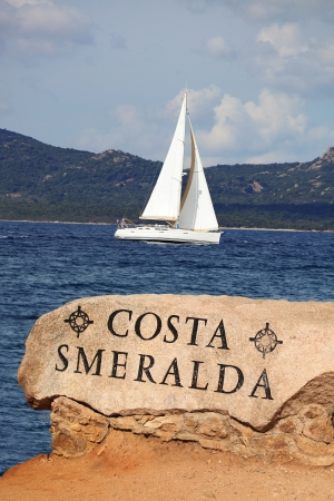 White sailboat in Sardinia, Costa Esmeralda, Italy photo