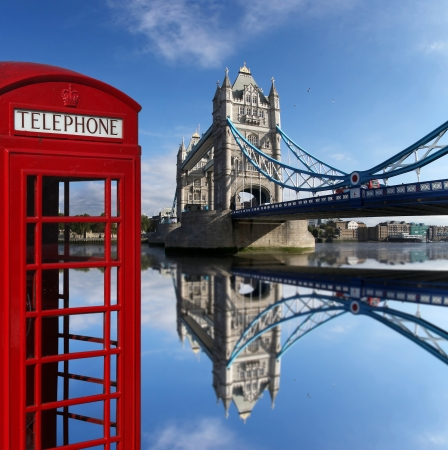 red telephone: Famous Tower Bridge with typical red telephone box in London, England Stock Photo