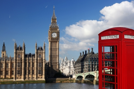 English red telephone box with Big Ben in London, UK