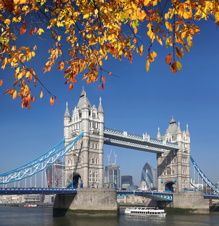 Famous Tower Bridge with autumn leaves in London, England photo