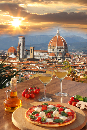 Florence with Cathedral and typical Italian pizza in Tuscany, Italy photo