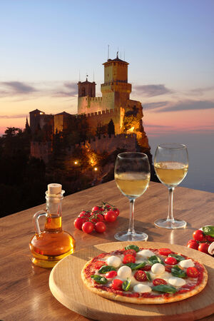 San Marino Castle, Rocca della Guaita with Italian pizza in Italy Stock Photo - 25140806