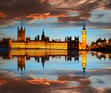 houses of parliament: Big Ben in the evening, London, England