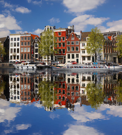 River: Amsterdam city with main canal in Holland