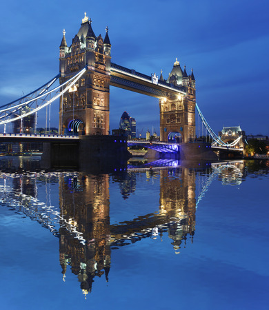 Famous Tower Bridge in the evening, London, England photo