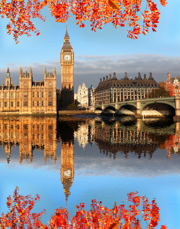 decker: Big Ben with autumn leaves in London, England Stock Photo