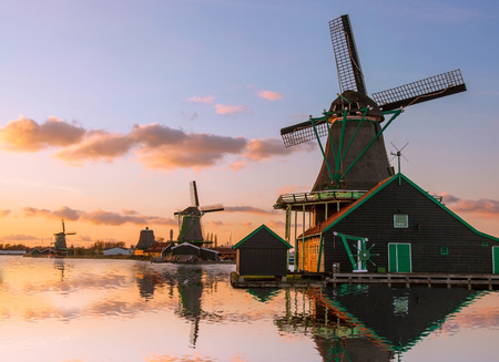 holland windmill: Traditional Dutch windmills with canal near the Amsterdam, Holland