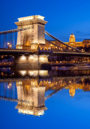 Budapest castle and chain bridge in the evening, Hungary Stock Photo