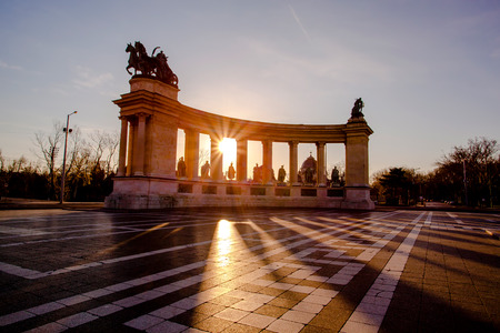 Heroes Square in Budapest against sunrise, Hungary photo