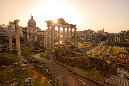 Famous Roman ruins in Rome,  Capital city of Italy photo
