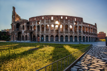 Colosseum during morning time in Rome, Italy Stock Photo