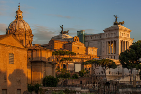 peripteral: Rome with Roman ruins against Capitol in Italy Stock Photo