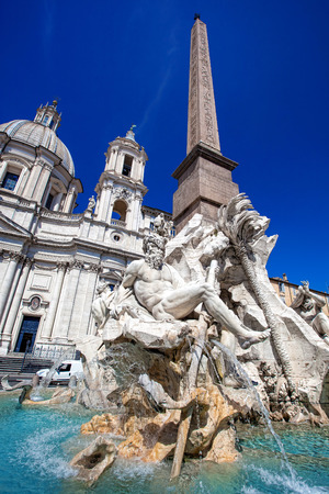 navona: Fountain of the Four Rivers in Piazza Navona, Rome, Italy