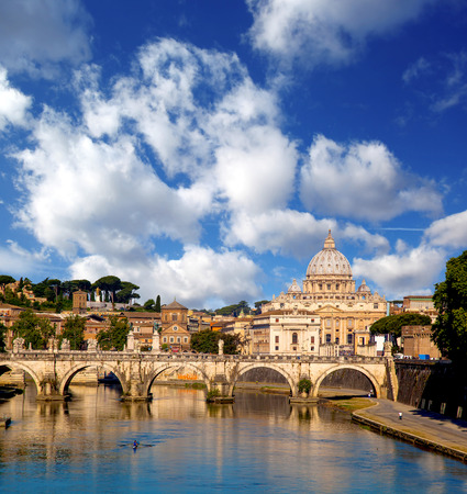 pietro: Basilica di San Pietro with bridge in Vatican, Rome, Italy