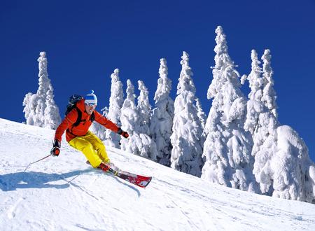 narciarz: Narciarz narciarstwo zjazdowe w wysokich górach Zdjęcie Seryjne