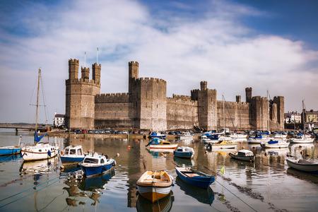 Famous Caernarfon castle in Wales, United Kigdom, series of Walesh castles