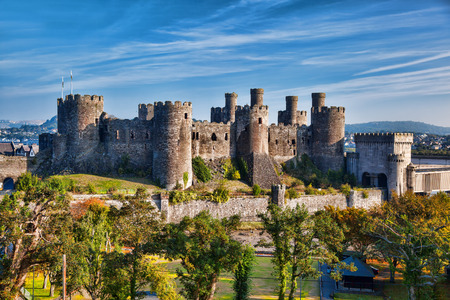 Famous Conwy Castle in Wales, United Kingdom, series of Walesh castles Editorial