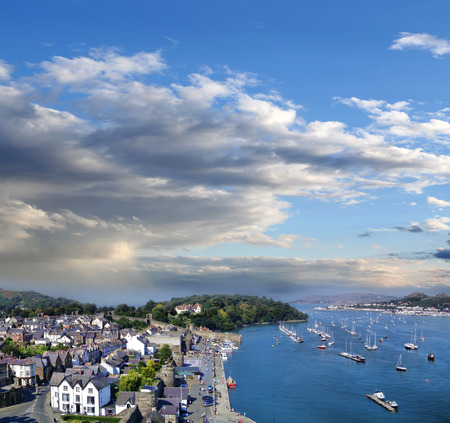 estuary: Conwy town with boats in Wales, United Kingdom