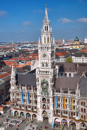 Aerial view of Munchen with Marienplatz, New Town Hall in Germany photo