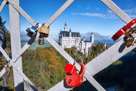 neuschwanstein: Famous Neuschwanstein castle in Bavaria,  Germany Editorial