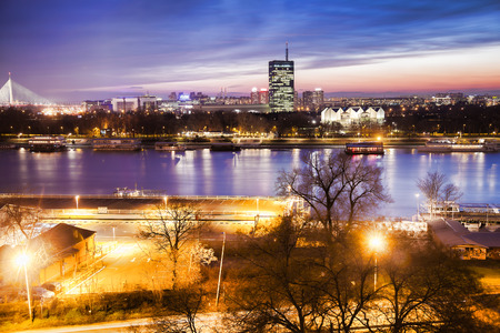Belgrade city with Danube river in the evening,  Capital city of Serbia