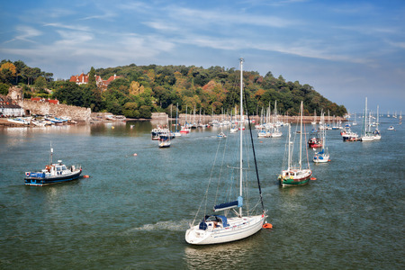 south west england: Sailboats near the Conwy town in Wales, United Kingdom