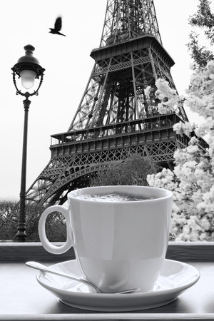 coffee shop: Eiffel Tower with cup of coffee in black and white style,  Paris, France Stock Photo