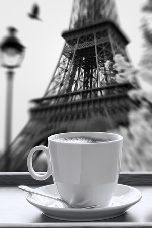 Eiffel Tower with cup of coffee in black and white style,  Paris, France Reklamní fotografie - 33356953