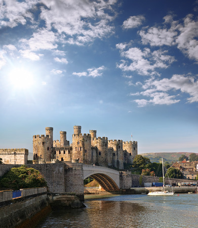 castle buildings: Famous Conwy Castle in Wales, United Kingdom, series of Walesh castles Editorial
