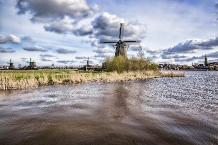 zaandam: Traditional Dutch windmills  in  Zaanse Schans, Amsterdam area, Holland