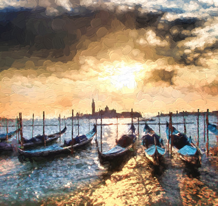 italy landscape: Venice with gondolas on Grand canal, Italy, Oil painting