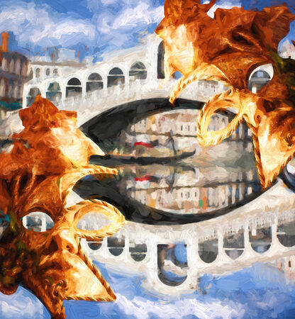 rialto: Famous Rialto bridge in Venice, Italy, Oil painting Stock Photo