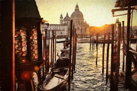 venice gondola: Venice with gondolas on Grand canal, Italy, Oil painting