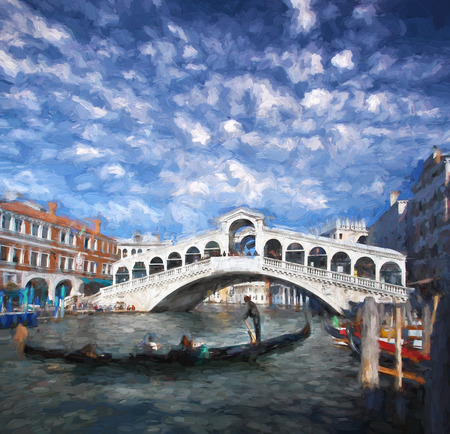 rialto bridge: Famous Rialto bridge in Venice, Italy, Oil painting Stock Photo