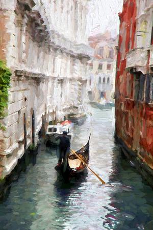 ヴェネツィア大運河、イタリア、油絵のゴンドラ