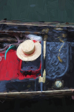 wave tourist: Venice with gondolas on Grand canal, Italy, Oil painting