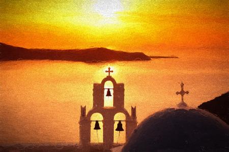 fira: Famous Fira town in Santorini island, Greece, ART STYLE