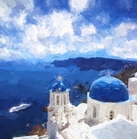 Famous Oia village in Santorini island, Greece, ART STYLE