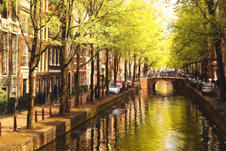 Famous Amsterdam city in Holland, artwork in painting style photo