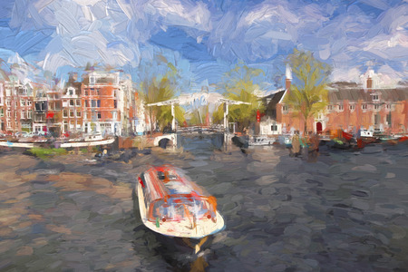 artwork painting: Famous Amsterdam city in Holland, artwork in painting style Stock Photo