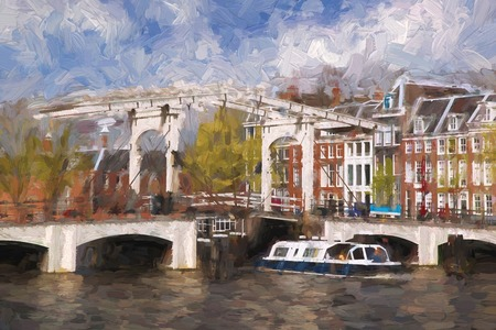 amstel river: Famous Amsterdam city in Holland, artwork in painting style Stock Photo