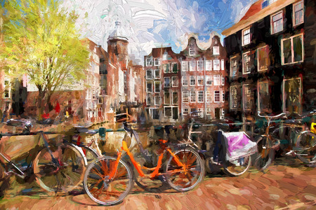 Famous Amsterdam city in Holland, artwork in painting style Stock Photo