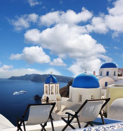 oia: Famous Oia village in Santorini island, Greece Stock Photo