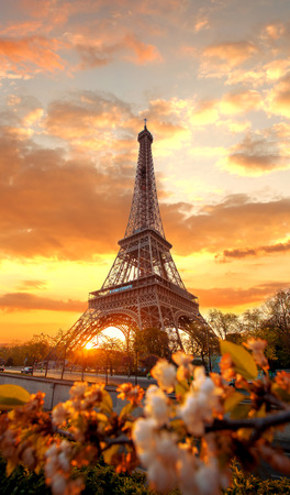 Eiffel Tower: Eiffel Tower during beautiful  spring morning in Paris, France