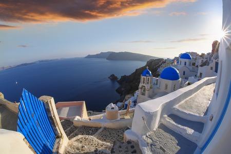 caldera: Oia village in Santorini island, Greece