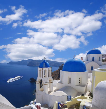 Oia village in Santorini island, Greece photo