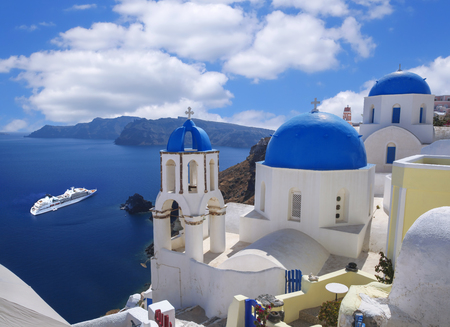 santorini caldera: Oia village in Santorini island, Greece