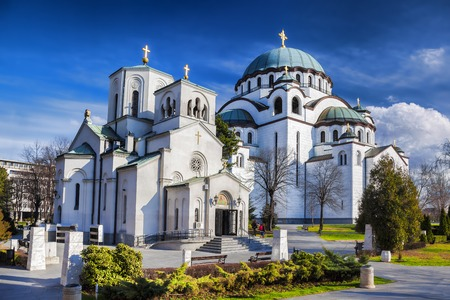 serb: St. Sava Cathedral during spring time in Belgrade, Capital city of Serbia Stock Photo