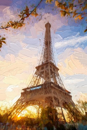 Eiffel Tower in Artwork style in Paris, France